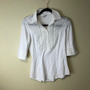 CAbi White Collared Shirt Lace Small